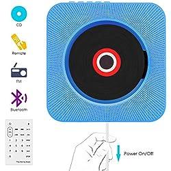 Lecteur CD,VIFLYKOO Lecteur de Musique Portable à Fixation Murale avec Haut-Parleur HiFi Radio FM MP3 USB Fonction de contrôle à Distance Jack 3,5 mm pour Enfants et Personnes âgées - Bleu