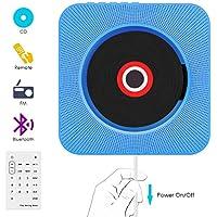 VIFLYKOO Reproductor CD,Bluetooth Lectores de CD portátiles de Pared con Control Remoto,Altavoz HiFi, USB, FM, Entrada AUX y Conector para Auriculares - Azul