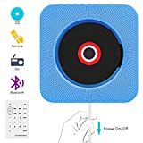 CD Player,VIFLYKOO Bluetooth an der Wand montierbaren tragbaren CD-Musik-Player mit HiFi Lautsprecher FM Radio MP3 USB Eingang Fernbedienung 3,5mm Aux Buchse für Kinder Studenten und Ältester -Blau