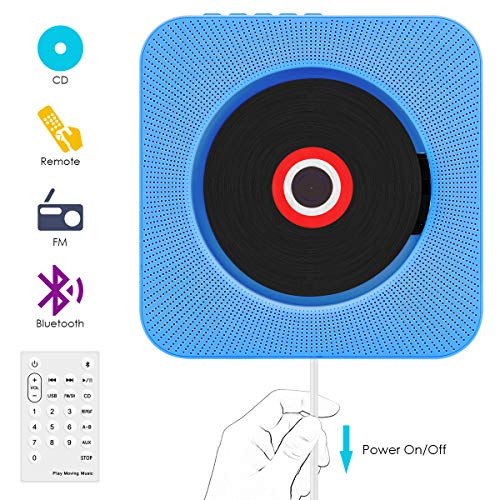 CD Player,VIFLYKOO Bluetooth wandmontierbar CD Radio Musik Player mit Fernbedienung, Eingebauter 2 HiFi-Lautsprecher, FM-Radio,MP3,3.5mm Kopfhörerbuchse für Kinder Student und Elder - Blau