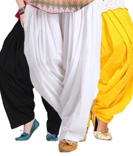 Pistaa'S Women's Cotton Patiala Salwar Combo (ACPSBLKMWYLW_Black
