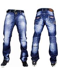 Peviani Hommes G Jeans Urbain haie-Star Droit Ajusté Pantalon Hip-hop Confort Club