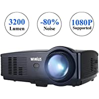 Proyector Full HD, Proyectores LED 3200 Lúmenes 1080P Proyector Video Portátil WiMiUS T4 Projector LCD Home Cinema Apoyo 1920*1080 HDMI VGA USB SD para PC Portátil TV Juego Hogar PS3 XBO X360-Negro