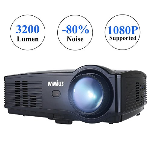 Wimius Modelo T4 (Negro) - Proyector Full HD, Proyector LED 3200 Lúmenes 1080P, Proyector Vídeo Portátil, Projector LCD Home Cinema