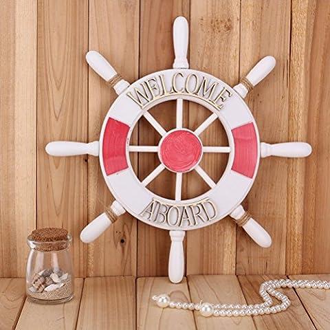 FENICAL 32cm stile mediterraneo nautica barca di legno nordico ruota timone timone Benvenuto a bordo muro / casa / Babyroom Home Decoration