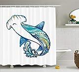 JIEKEIO Abstract Home Decor Shower Curtain Set, Hammer Head Shark Ornate Underwater Sea Ocean Life Animals Marine Theme Image, Bathroom Accessories, 60 * 72inchs Long, Blue Aqua White