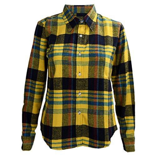 SODIAL(R) Chemise a carreaux de revers boutonne & Chemises en flanelle Hauts de chemisier -Bleu & Rouge L Jaune & Bleu