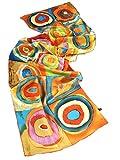Prettystern - P815 Langer Seidenschal Handgerollt Kunstdrucke Kandinsky farbstudie Quadrate - Orange