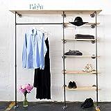 Various Kleiderschrank im Industrial Design - Kleiderständer, offener Schlafzimmer-Schrank & Wand-Garderobe im Flur - schwarz, stabil aus Metall