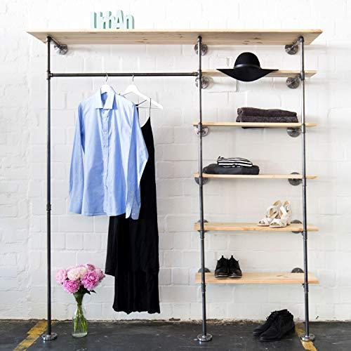Offener Kleiderschrank Space HIGH Industrial Design aus Wasserrohr, Garderobenschränke aus...