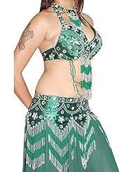 Gorgeous profonde Vert Argent wulst iger la danse du ventre costume 3pc Support de Buste de oberseiten de hanches écharpe en 10–14M L