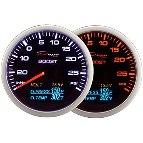 (1) Depo Racing 60mm Boost Turbo V cartucho de presión de aceite indicador de temperatura de aceite 4en 1PSI