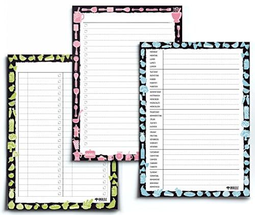 3er SPAR-SET NOTIZBLÖCKE: Wochenplan blanko + Einkaufsliste + To-do Liste von UKULELE®/3x DIN A5/jeweils 50 Blatt zum Abreißen/einsetzbar als Familienplaner - Mahlzeitenplaner - Putzplan