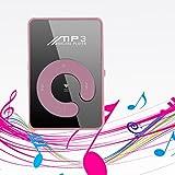 Carsge MP3 Media Player Lecteur de Musique Portable Rechargeable Sport Surface Miroir Bouton C Carte TF USB avec Clip Metal (Rose)