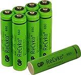 Akkus Phone Power wiederaufladbar, 8 Stück Akkubatterien Micro AAA 1,2V 650mAh, ready2use - bereits vorgeladen, ReCyko+ LSD Technologie - sehr geringe Selbstentladung, kein Memory-Effekt, ideal z.B. für schnurlose DECT Telefone etc. (Markenware GP Batteries)