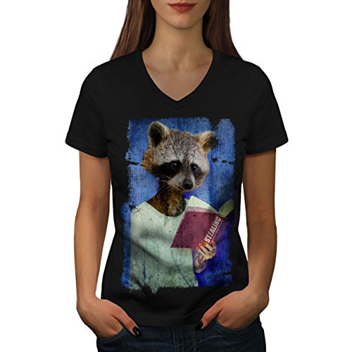 Wellcoda Racoon Book Thief Animal Womens V-Neck T-Shirt, Read Graphic Design Tee