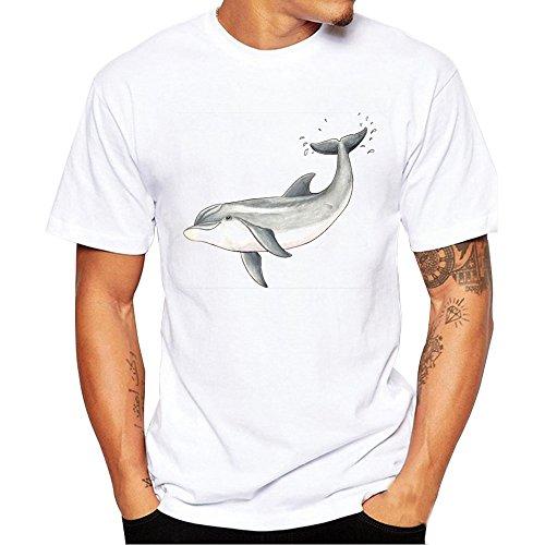 VECDY Herren T Shirts Mode Tops Plus Size Kurzarm Einfaches Pullover Brief Drucken Oberteile Slim Fit Shirt S-4XL (Plus Coole Kostüme Size)