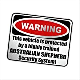 Siviwonder Auto Aufkleber AUSTRALIAN SHEPHERD WARNING ALARMANLAGE Hundeaufkleber silber metallic