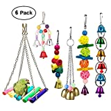 Ewolee Bird Swing Toy - 6 Pack Pet Bird Parrot Cage Toy, Parakeet Bird Toys Perches Chewing Hanging Toys with Bells for Conures Parrots Cockatiels Macaws Finches Love Birds