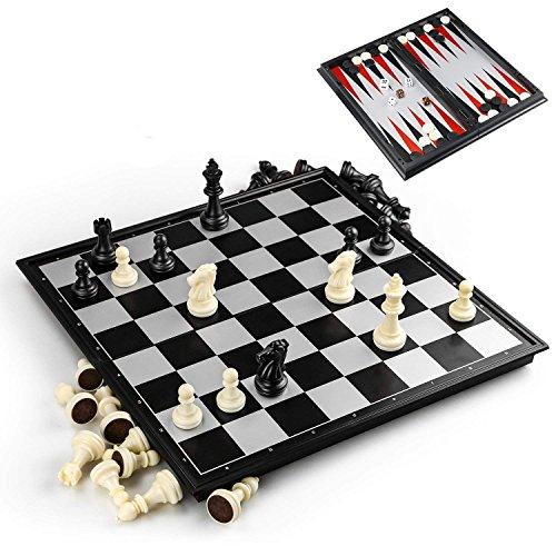 3-3-in-1 Schachspiel Magnetisch, 32CM x32 cm Einklappbar Schachbrett Pädagogische Speil mit Magnetischem für Kinder, Schwarz und Weiß ,Reisen (Schwarz Weiß-bett-satz Und)