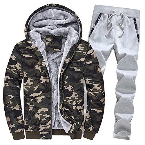 Aiserkly Herren Freizeitanzug Sportanzug Trainingsanzug Hoodie+Sporthose Winter Camouflage Warme Fleece Tracksuit Streetwear Zwei-Teilig Outwear Coat Pullover Top Hosen Sets X-A-Armeegrün 3XL