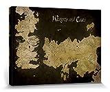 1art1 Set: Game of Thrones, Antike Landkarte Von Westeros Und Essos Poster Leinwandbild Auf Keilrahmen (40x30 cm) + 1x Aktions-Home-Deko Artikel