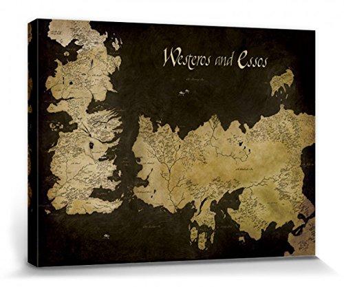 1art1® Set: Juego De Tronos, Mapa Antiguo De Westeros Y Essos Cuadro, Lienzo Montado sobre Bastidor (40x30 cm) + 1x 1 Accesorio Decorativo De Promoción