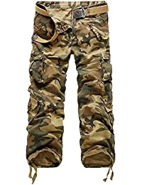 AYG Mens Casual Cargo Trousers Cargo Pants Cotton Military Waist 29-40