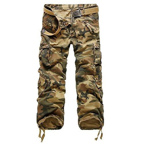Desert Camo Stoff (AYG Herren Cargo Hose Camouflage Freizeit Militär Hose(Desert camo,40))