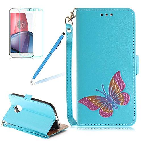 Preisvergleich Produktbild Girlyard Lederhülle für Motorola Moto E4 Plus Wallet Flip Case,  Elegant Bunte Schmetterling Muster Design Schutzhülle mit Lanyard Strap Handyhülle Standfunktion Karteneinschub und Magnetverschluß Etui - Blau