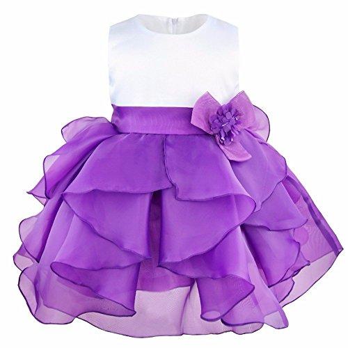iEFiEL Babybekleidung Baby-Mädchen Prinzessin Kleid Festzug Taufkleid Hochzeit Partykleid Lila 98 (Herstellergröße:90) (Sophia Das Erste Kleid)