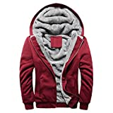 MRULIC Herren Hoodie Pullover Winter Warme Fleece Jacke Zipper Sweater Jacke Outwear Mantel RH-054(Rot,EU-48/CN-XXL)