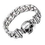 GYJUN Inox 316L acier inoxydable lien Chain Bracelet squelette pour hommes accessoires , silver