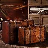 GFEI Vintage maleta portatil antiguo caja de madera, caja de cuero / de la tierra, la decoracion de...