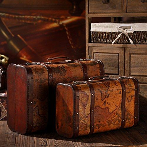 Gfei vintage valigia, portatile, case di legno, cuoio scatola antica / terra, decorazione, visualizzare oggetti