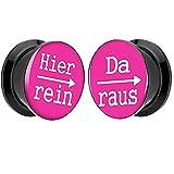 Piersando® 1 Paar 2er Set Ohr Plug Piercing Kunststoff Flesh Tunnel Ohrplug mit Hier rein Da raus Spruch Schwarz Motiv Comic Picture Pink 8mm