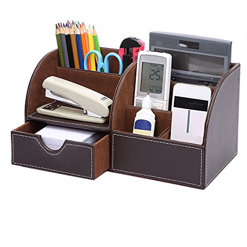 Scomparti multifunzione desktop in pelle Storage Box Desktop cancelleria Storage Box Collection, biglietto da visita/penna/matita/Cellulare/Remote Control Holder Desk Forniture Organizer brown - Desktop Hanging File