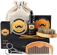 Beard Care Kit, Fixget skägg-kit för män grooming och vård med skäggolja balsam kam borste sax- perfekt presen