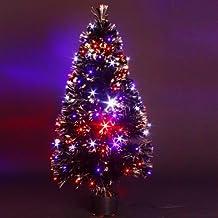 ALBERO DI NATALE artificiale con vaso - LUMINOSO, in fibra ottica + 88 lucine LED (Vaso Albero Di Natale)
