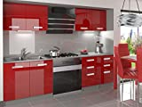 naka24 Komplette Küche Infiniti I 160 cm Hochglanz Verschiedene Farbkombinationen (Rot)