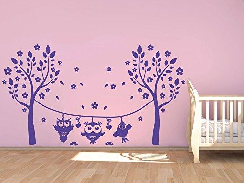 Preisvergleich Produktbild Wandtattoo Eule Aufkleber Kinderzimmer Mädchen Bäume Blumen Blüten Baum (54x30cm // 055 mint)