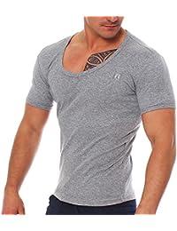 Young rich & v-aufschnitt homme deep t-shirt à col en v t-shirt à col v profond -  Gris - Large