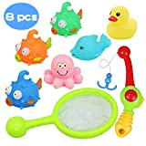 Baby Bath Toys Bathtime Fishing Game with Fun Ducks Octopus Floating Toy and Fishing Rod Best Gift for Boys Girls Kids 2 3 4 5 Year Olds