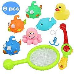 Idea Regalo - yoptote Bagno Giocattolo Galleggiante con Giochi Rete da Pesca 8 Pezzi Set per i Bambini (Il Colore può Variare)