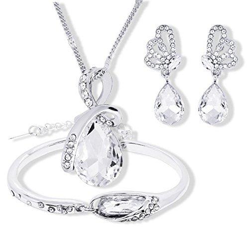 TLZR Collar con Pendientes y Pulsera Elegante con Forma de Gota de Cristal para Mujer (3 unids/Set) White