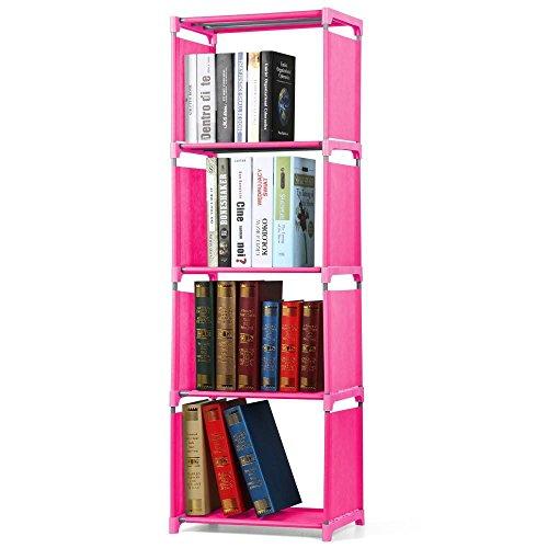 Yaheetech Bücherregal Regal Standregal Bücherschrank 4 Fächer aus Stahl und Kunststoff -