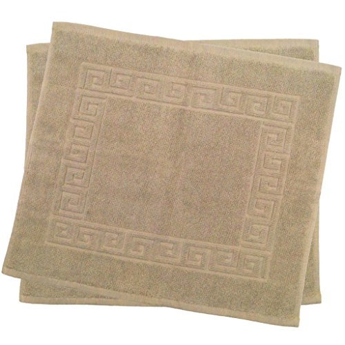 Julie Julsen 2er Pack 50 x 40 cm Badvorleger in Premium Qualität 900 gm2 in aktuellen Farben und 4 Größen aus Baumwolle Badematte Badteppich Duschvorleger Design Spirale Sand