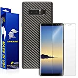 ArmorSuit MilitaryShield Galaxy Note 8 Screen Protector + Black Carbon Fiber Skin Wrap Protector Lifetime replacement