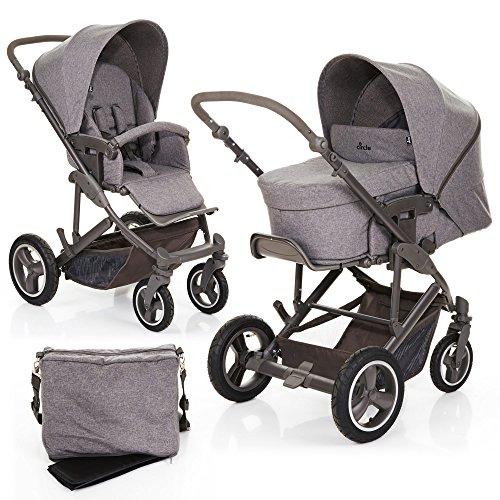 ABC Design Kombi Kinderwagen 2in1 Merano 4 Air mit Luftreifen - Tragewanne und Sportwagen inkl. XXL Zubehör Set (Wickeltasche, Regenschutz, Handyhalter etc.)