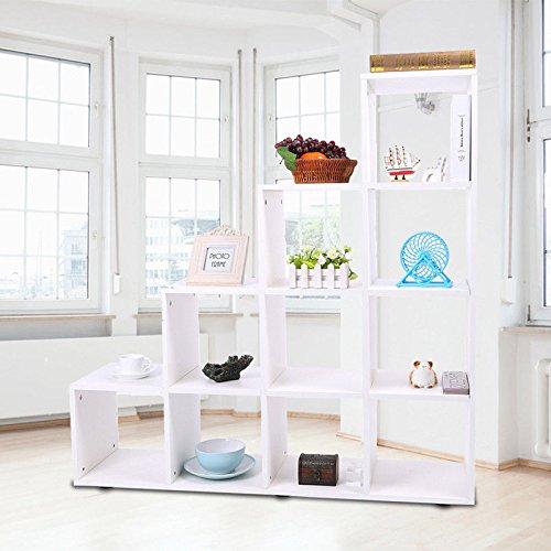 Gototop libreria scaffale a scala mobile con mensola in legno,scaffale cubo per libri cd modelli bianco,scaffale mensole scaffalature di stoccaggio (bianco 10)